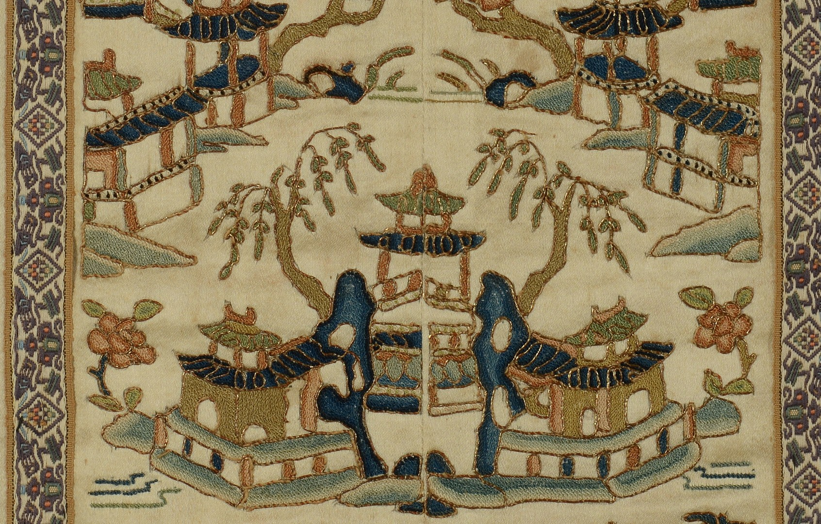 Lot 3383183: Pr. Chinese Embroideries w/ Forbidden Stitchery