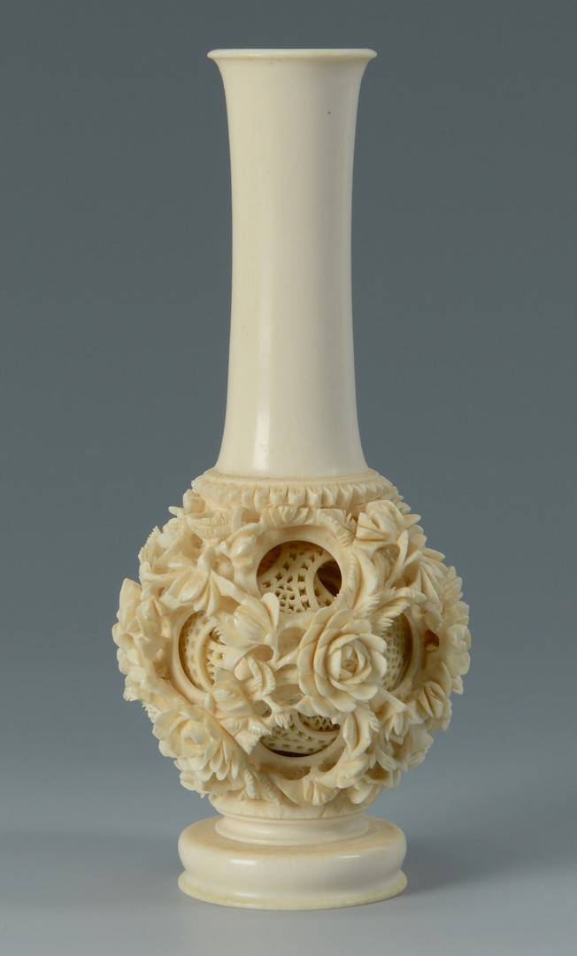 Lot 3383193: Chinese Ivory Puzzle Ball Vase