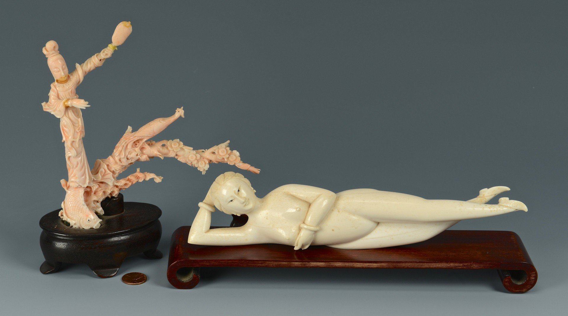 Lot 3383194: Chinese Ivory Doctor's Lady & Coral Quan Yin