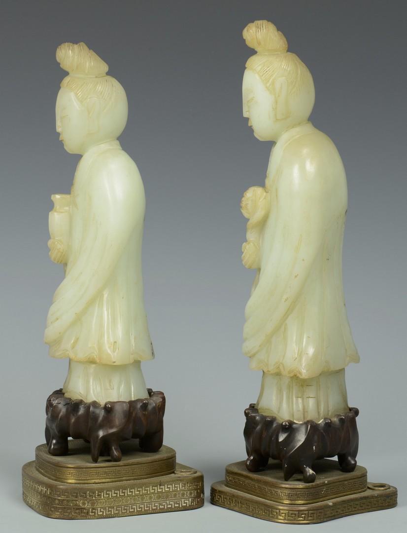 Lot 3383197: Two Jade Guan-yin Figures