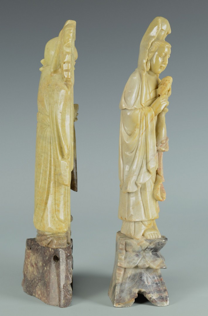 Lot 3383199: Pr Chinese Soapstone Lohan Figures and Covered Jar
