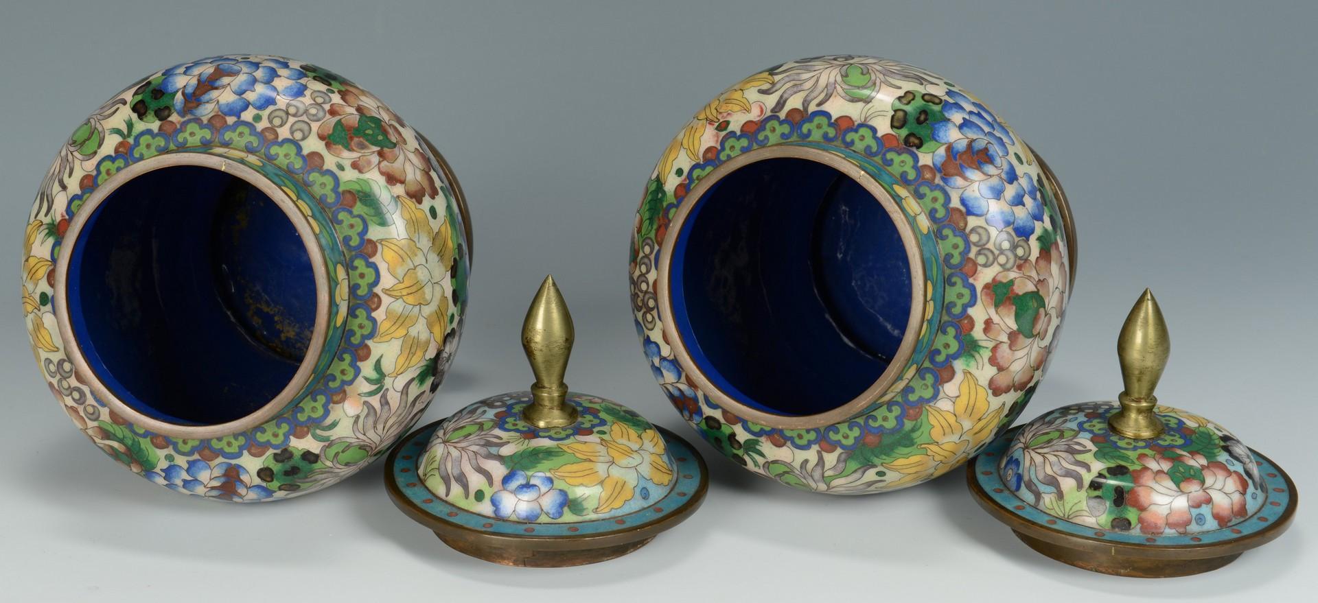 Lot 3383200: Pair of Cloisonne Urns