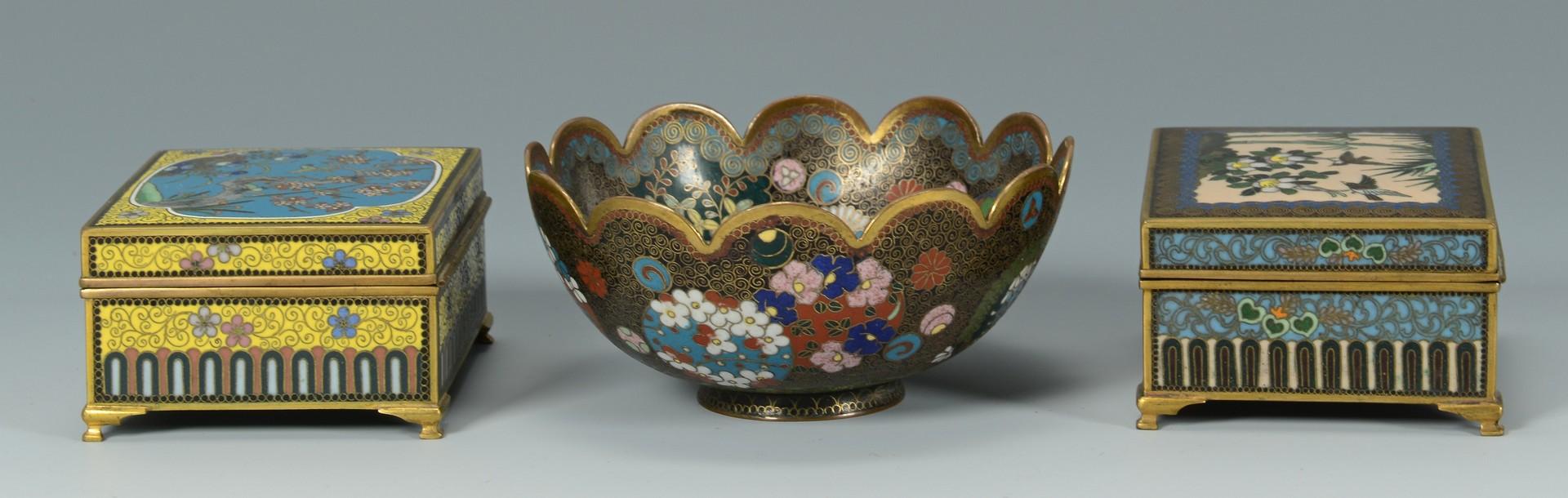 Lot 3383203: 2 Japanese Cloisonne Boxes & Signed Cloisonne Bowl