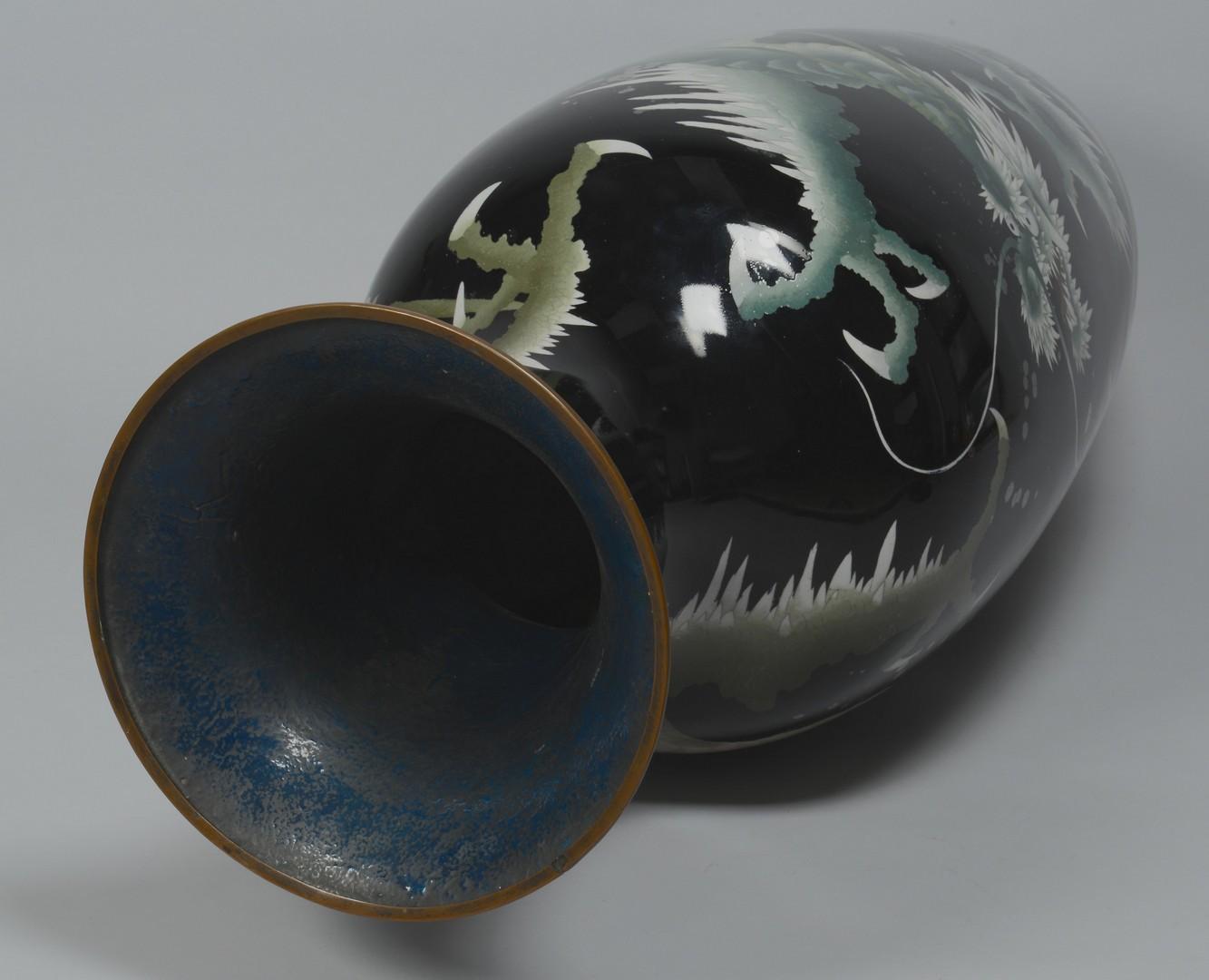 Lot 3383206: Large Asian Cloisonne Floor Vase w/ Green Dragon