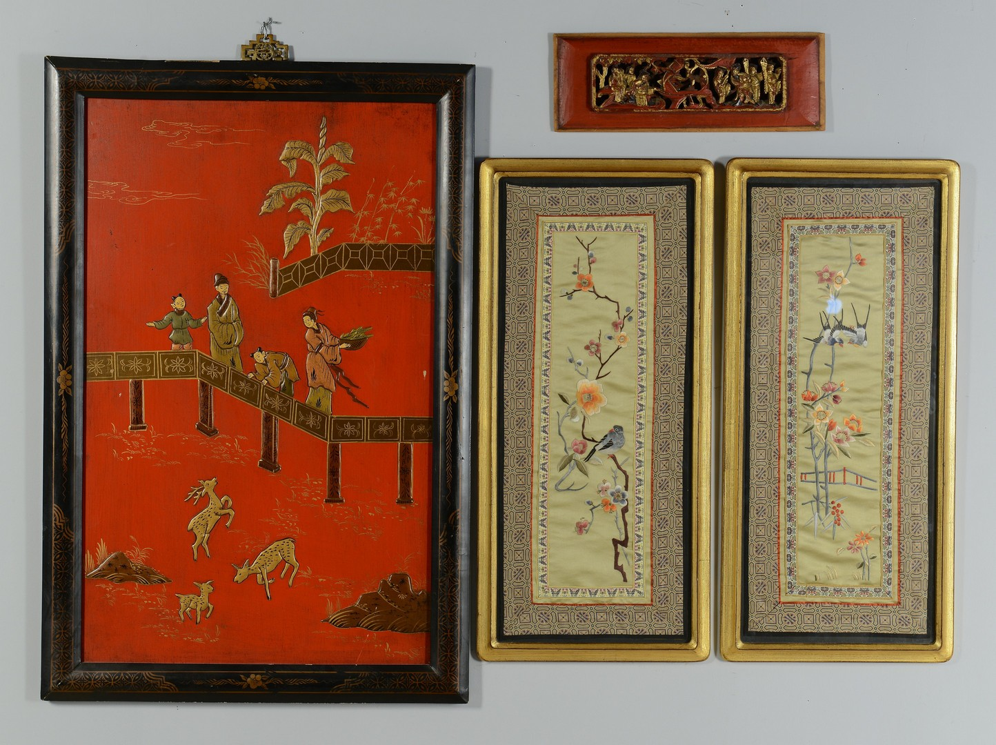 Lot 3383207: 5 Asian Framed Items textiles, lacquer and woodcut