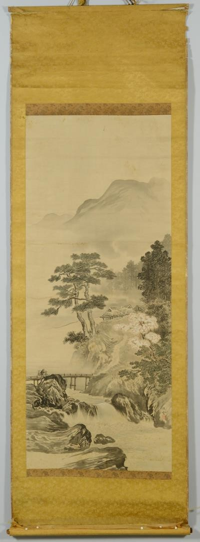 Lot 3383209: Chinese Scroll w/ Bridge & Mountains
