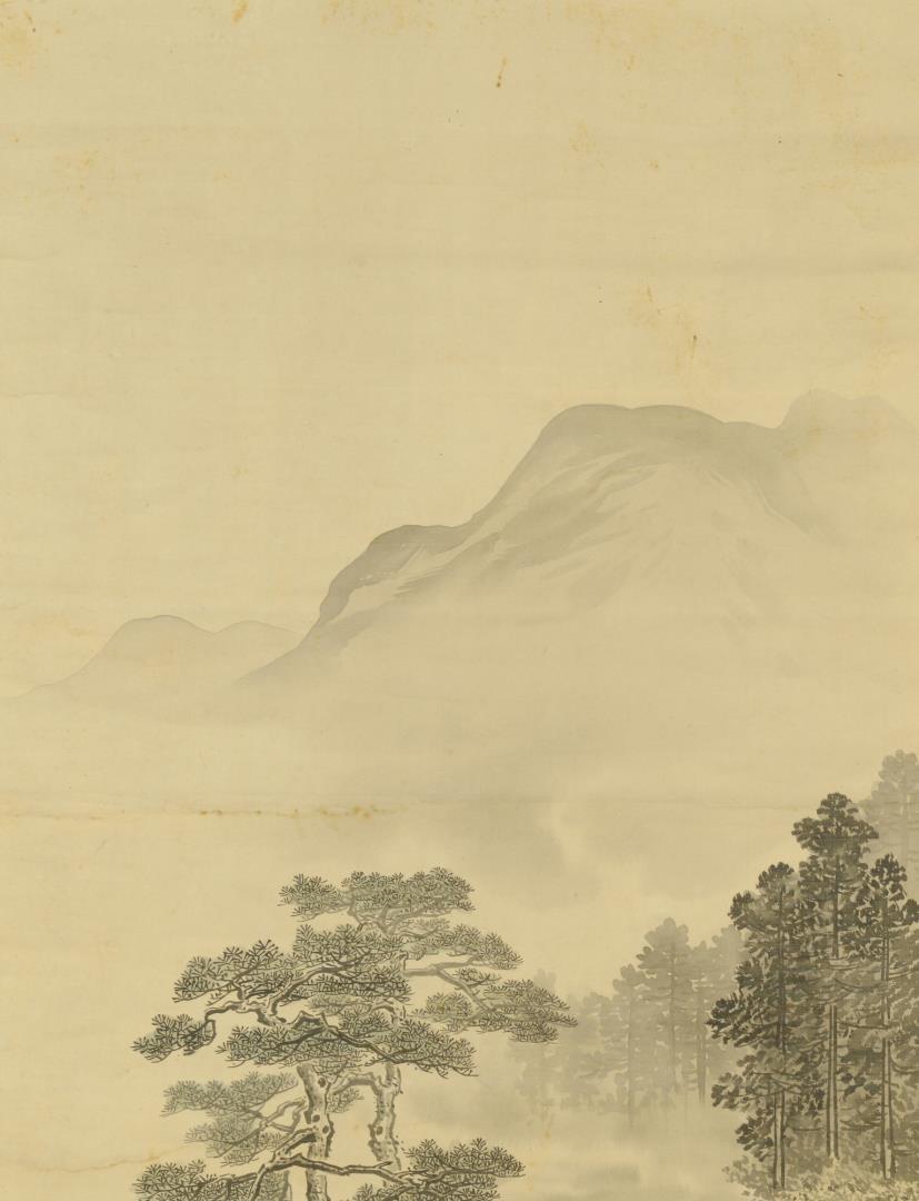 Lot 3383209: Chinese Scroll w/ Bridge & Mountains