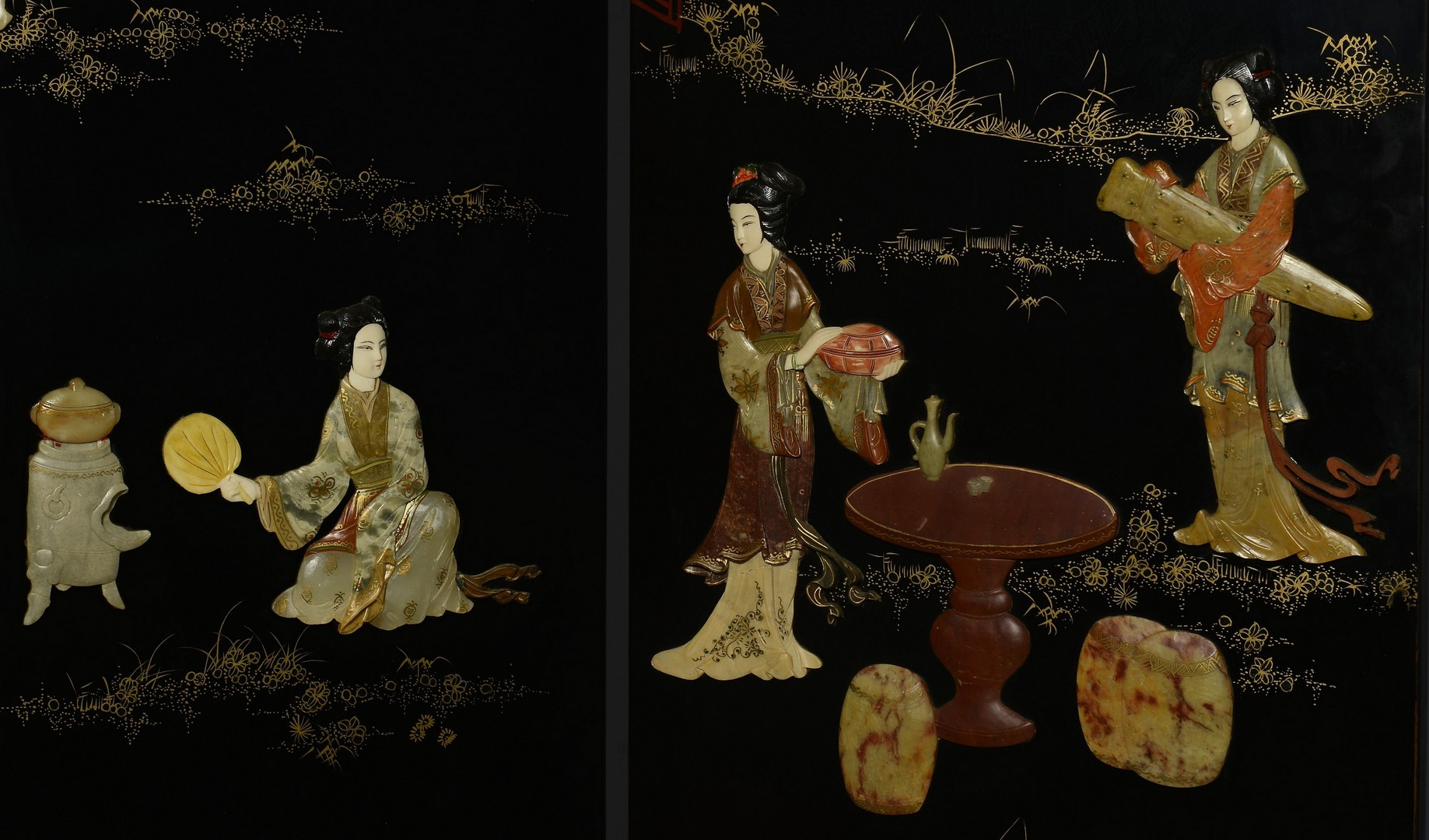 Lot 3383216: Asian Lacquer and Hardstone Screen