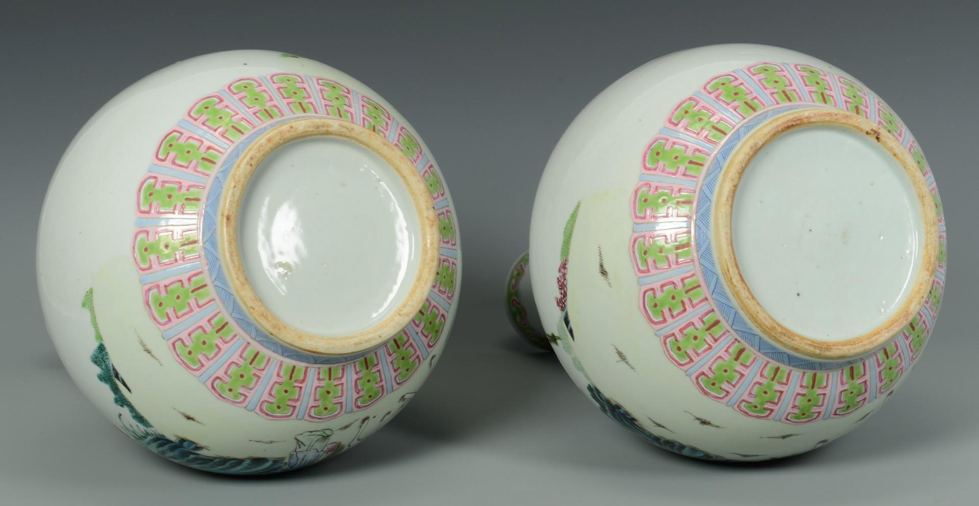 Lot 3383217: Pr. Chinese Famille Rose Bottle Vases