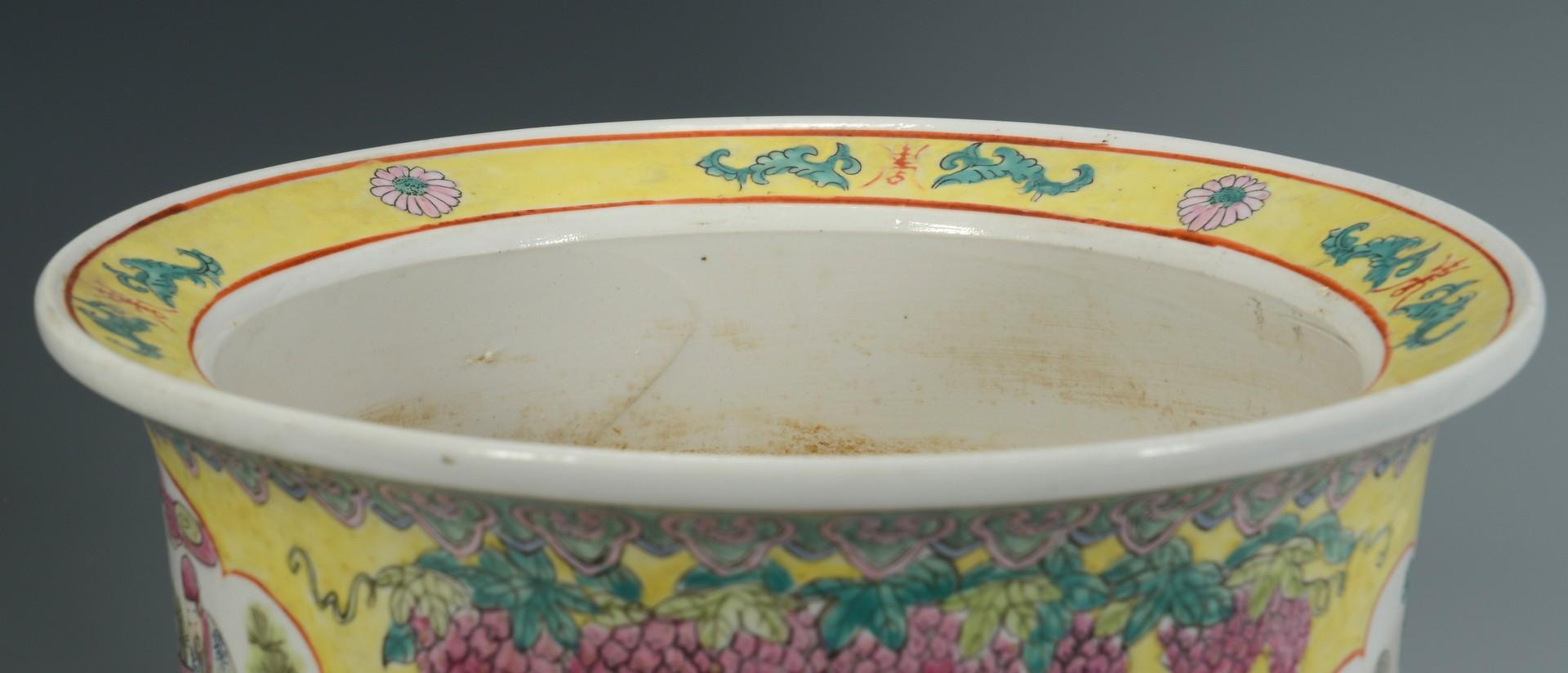 Lot 3383238: Chinese Ceramic Floor Vase and Planter