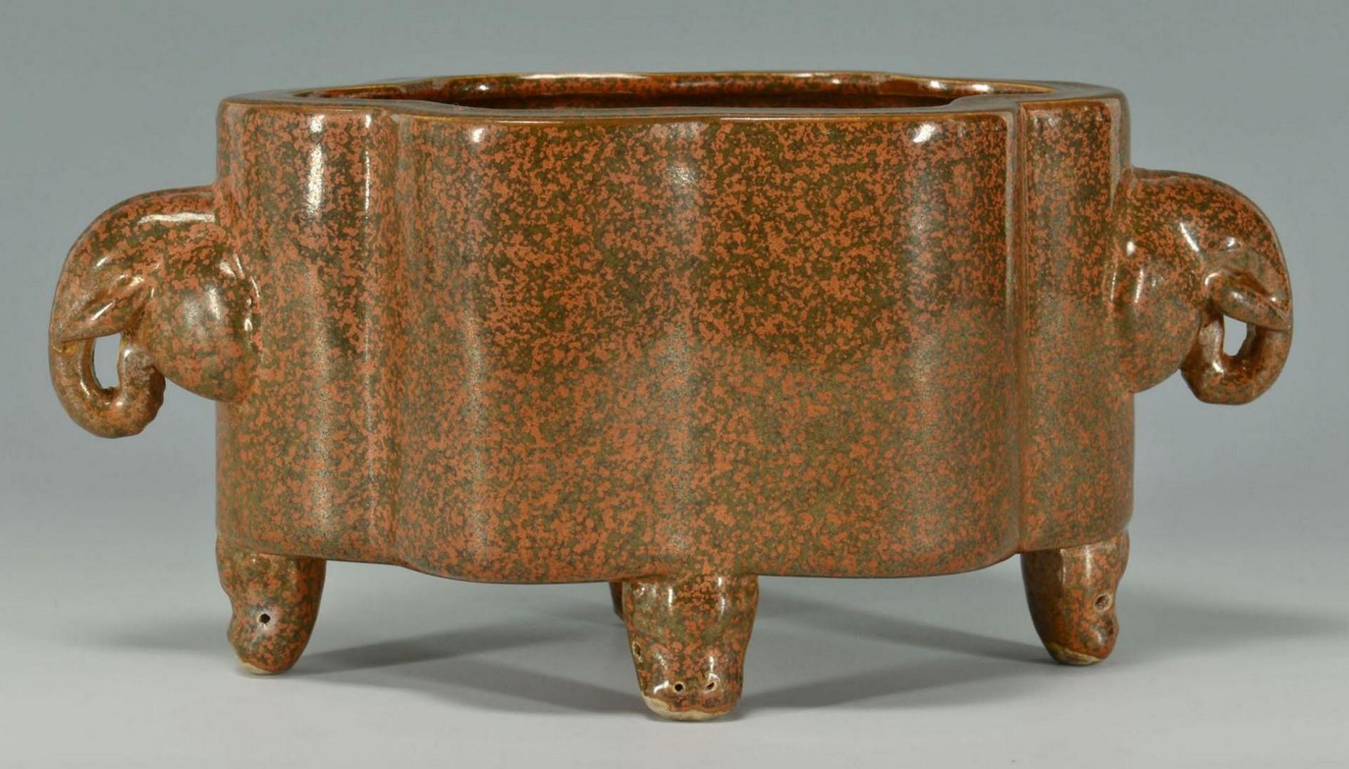 Lot 3383239: Chinese Bulb Bowl & Pair Claire de Lune Vases