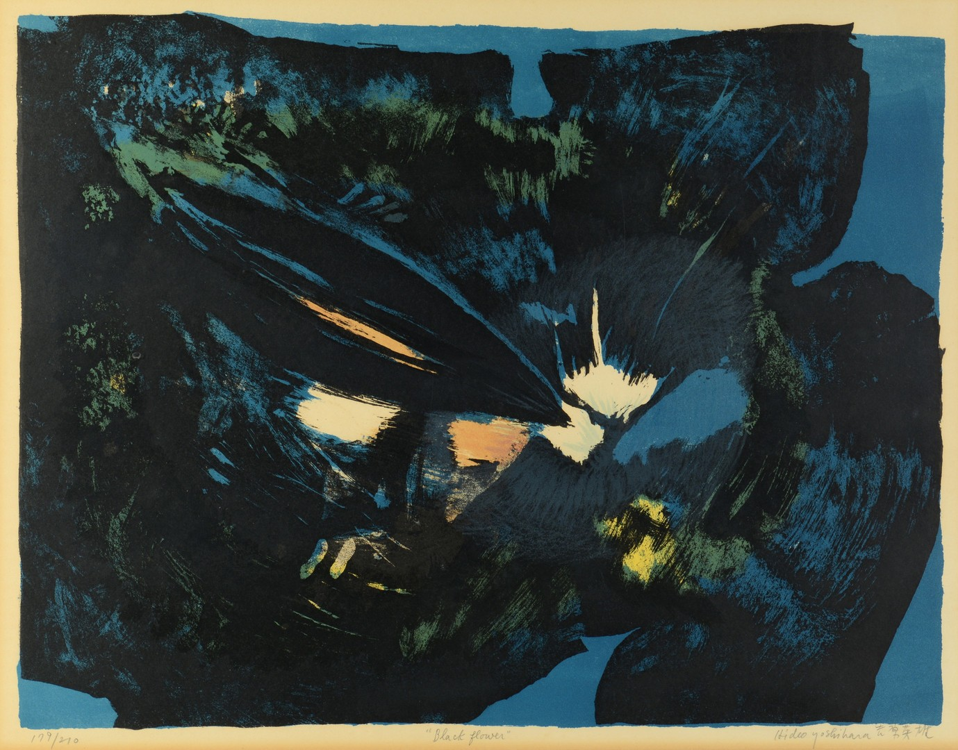"""Lot 3383242: Hideo Yoshihara Colored Lithograph, """"Black Flower"""""""