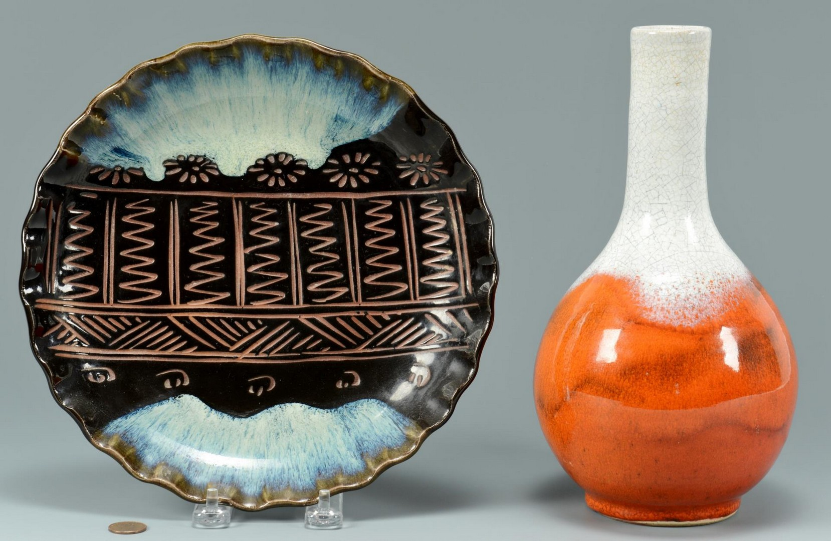 Lot 3383245: 2 Japanese Art Pottery Items
