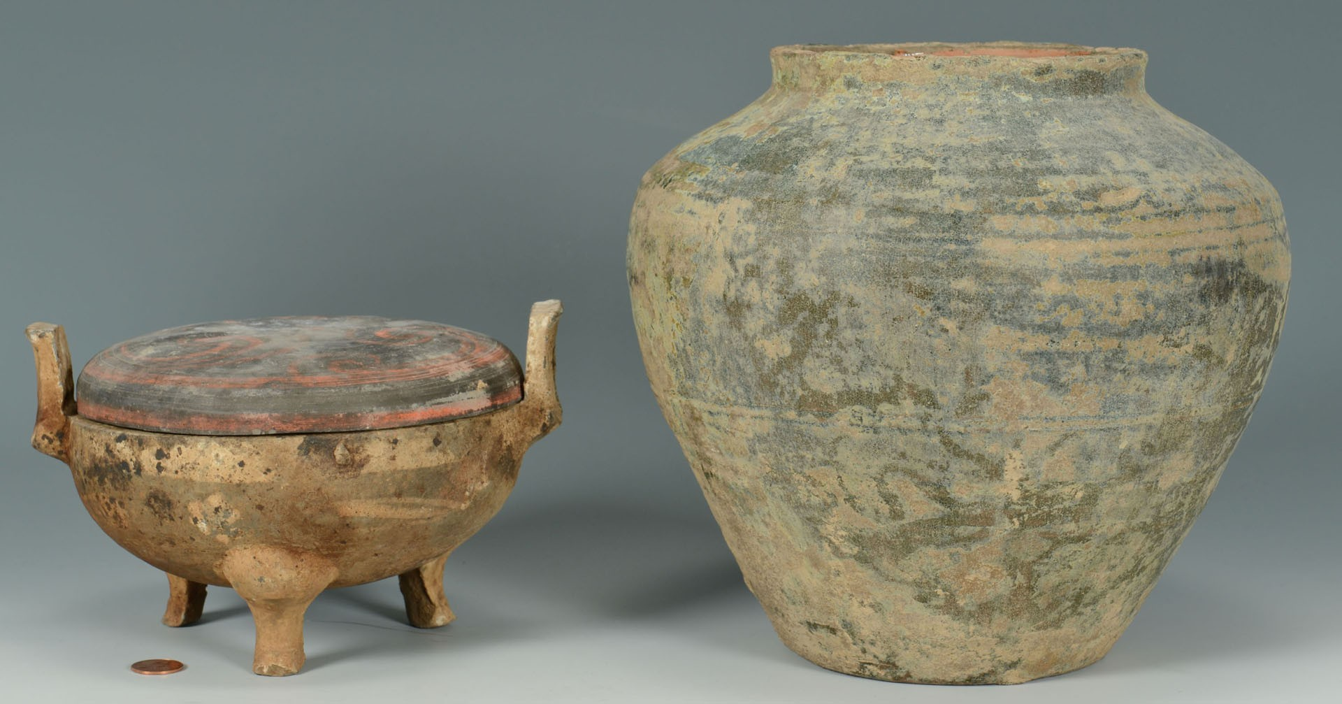 Lot 3383253: 2 Chinese Han Dynasty Style Pottery Vessels