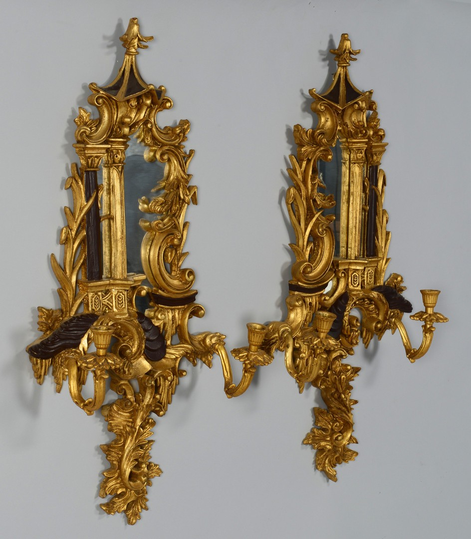Lot 3383257: Modern Chinoiserie Gilt Sconces in Asian Style