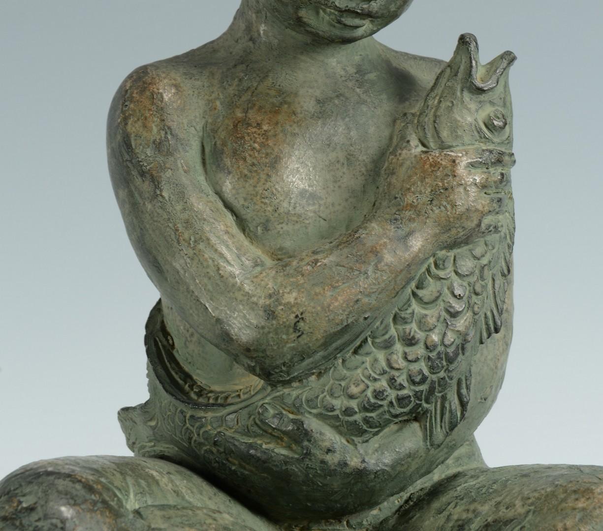 Lot 3383262: Figural Lamp, Boy with Carp