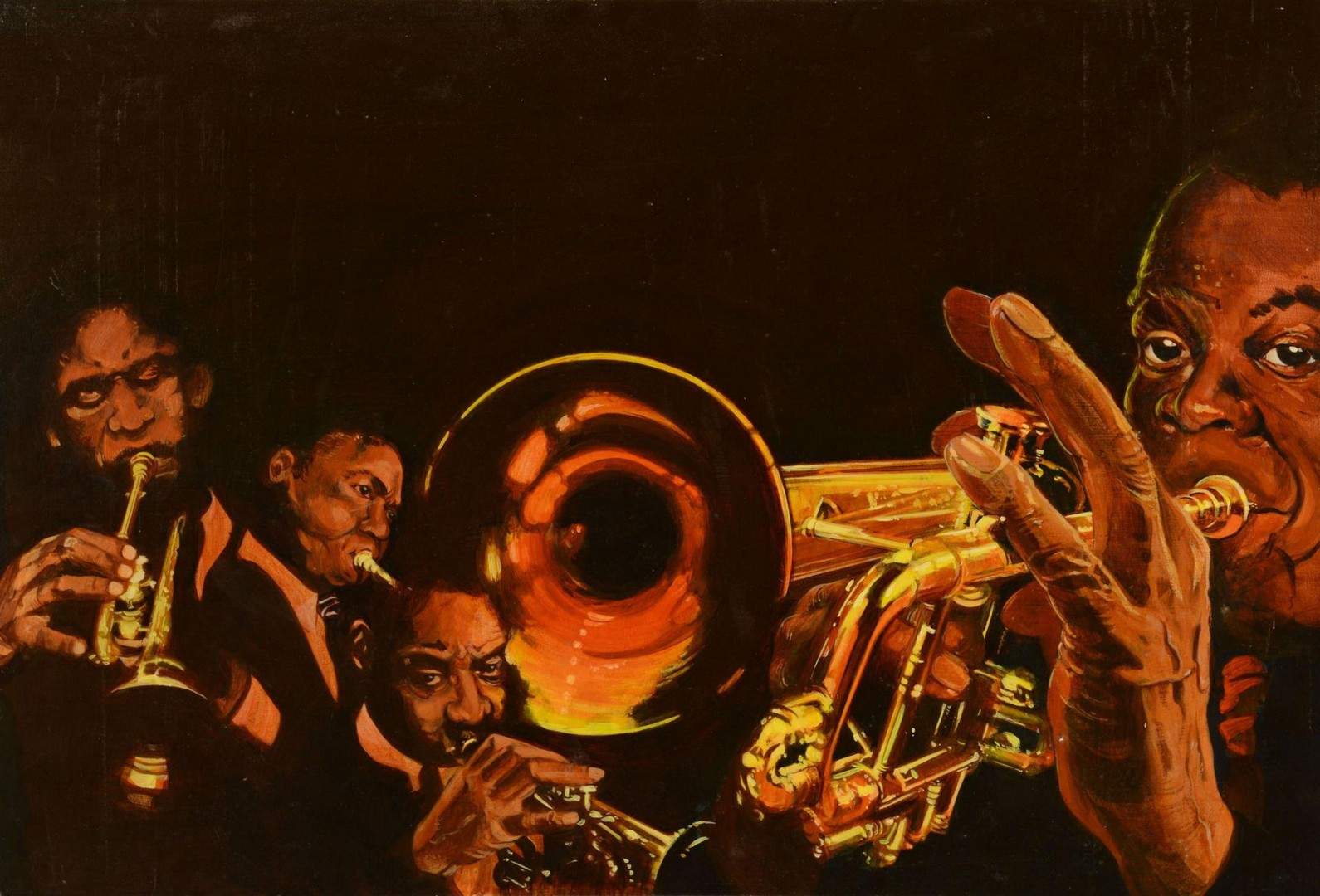 Lot 3383265: 4 Jazz Related Portraits by James Caulfield