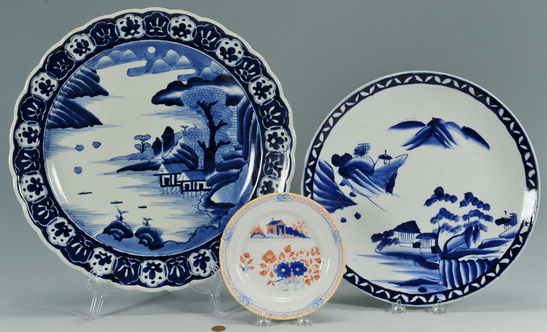 Lot 3389465: 2 Japanese Arita Chargers and Imari Style Plate