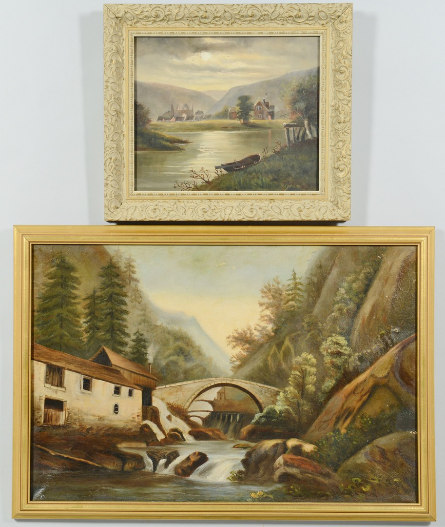 Lot 3391832: Two 19th c. European Landscape Oils on Board