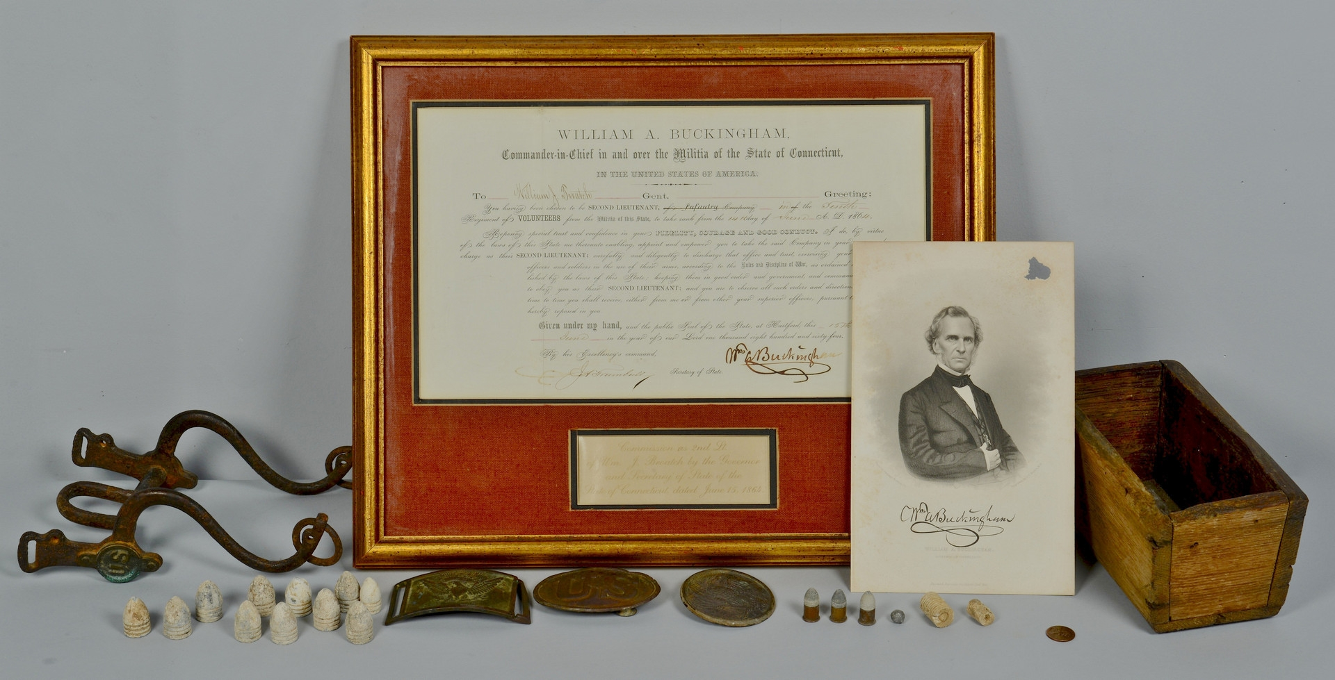 Lot 118: Grouping of Civil War buckles, bit, breastplate, b