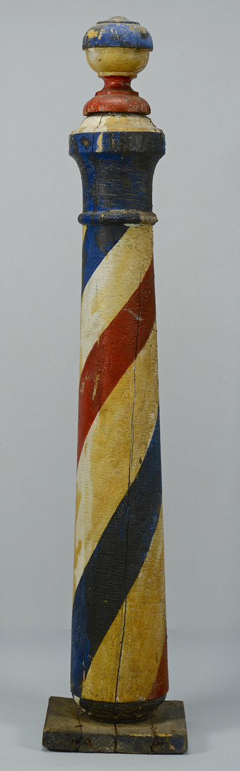 Lot 120: Early Painted Wooden Barber Pole