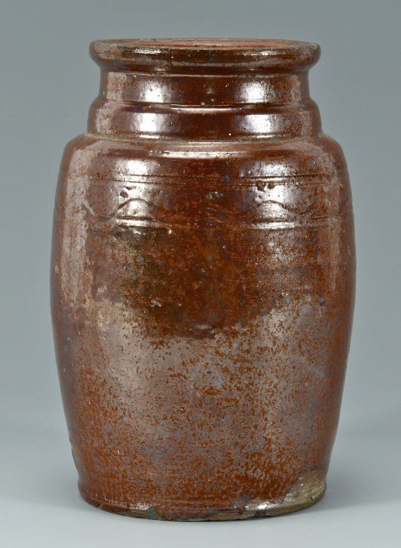 Lot 125: East TN Redware Preserving Jar, poss. Cain Pottery