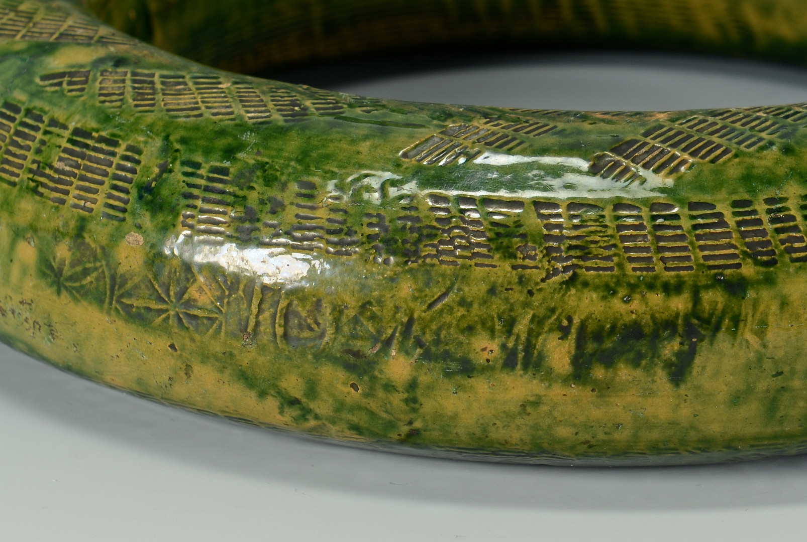 Lot 126: East TN Earthenware Ring Bottle, stamped C.A. Haun