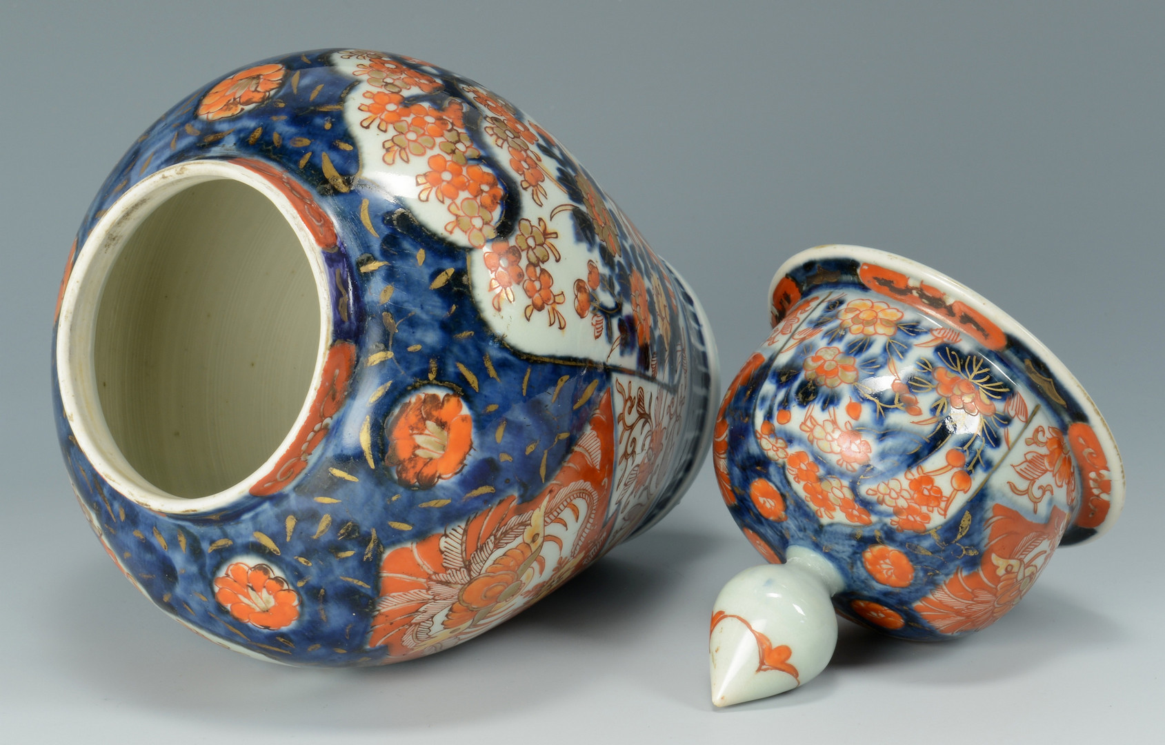 Lot 12: Imari Covered jar & 2 Bowls