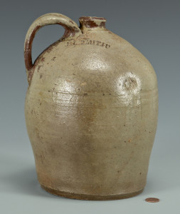 Lot 131: East TN Stoneware Jug, D. L. Smith