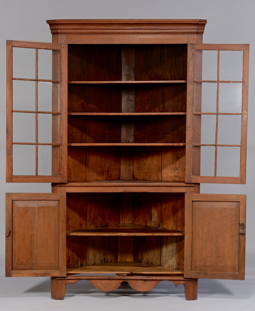 Lot 138: East TN walnut corner cupboard