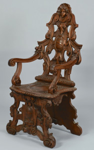 Lot 144: Renaissance Revival Carved Figural Armchair