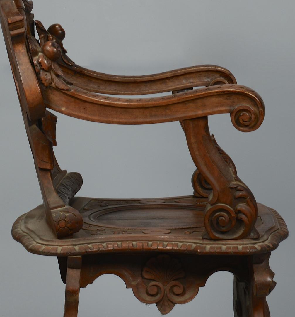 Lot 144: Renaissance Revival Carved Figural Armchair