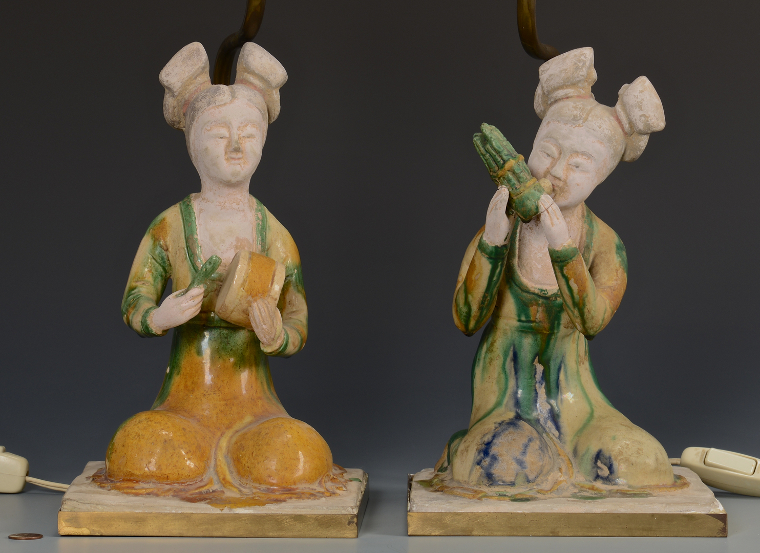 Lot 14: Pr. Chinese Musical Figure Lamps