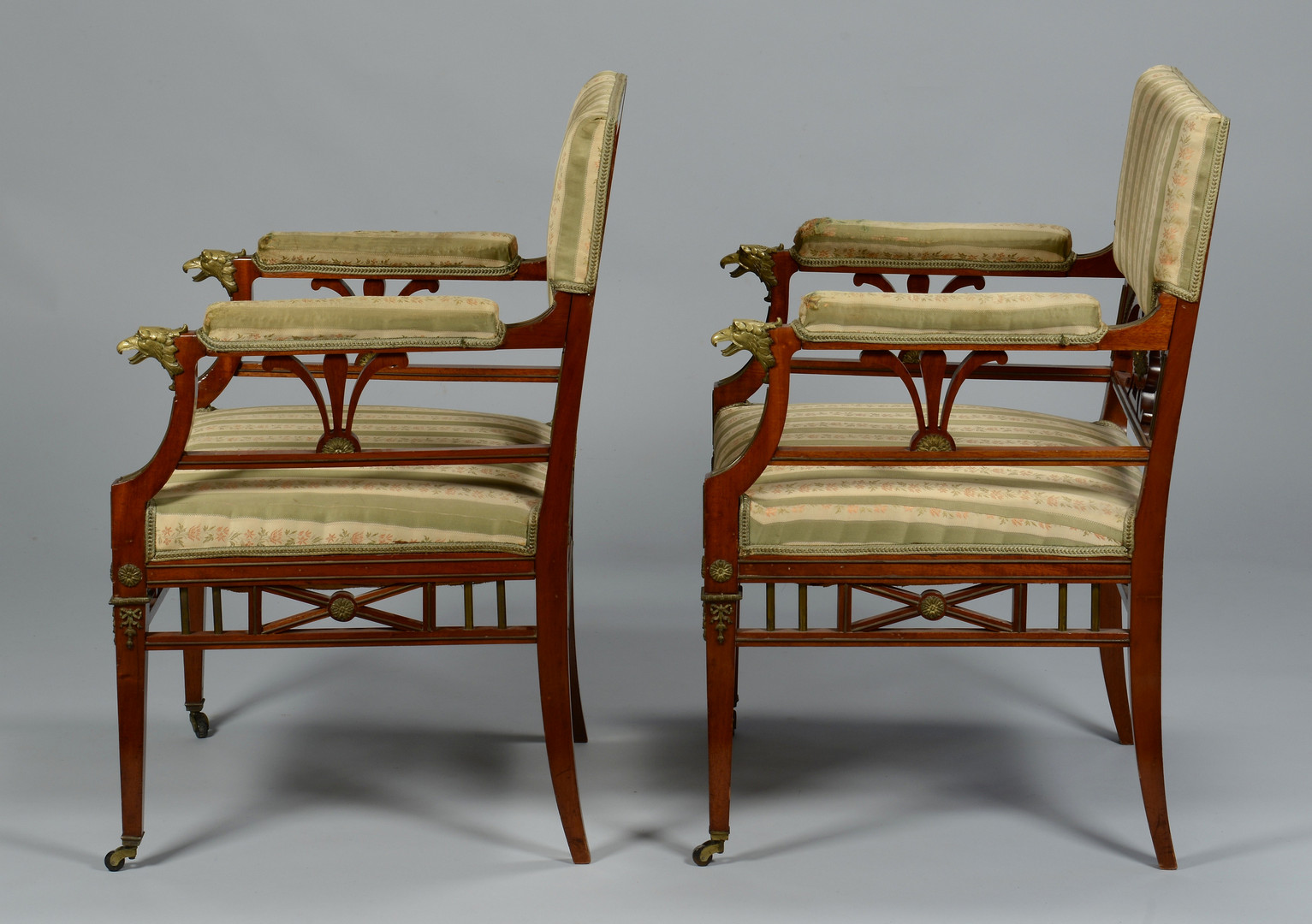 Lot 151: Pr. French Empire Style Armchairs