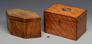 Lot 158: Two (2) English Tea Caddies, Mahogany