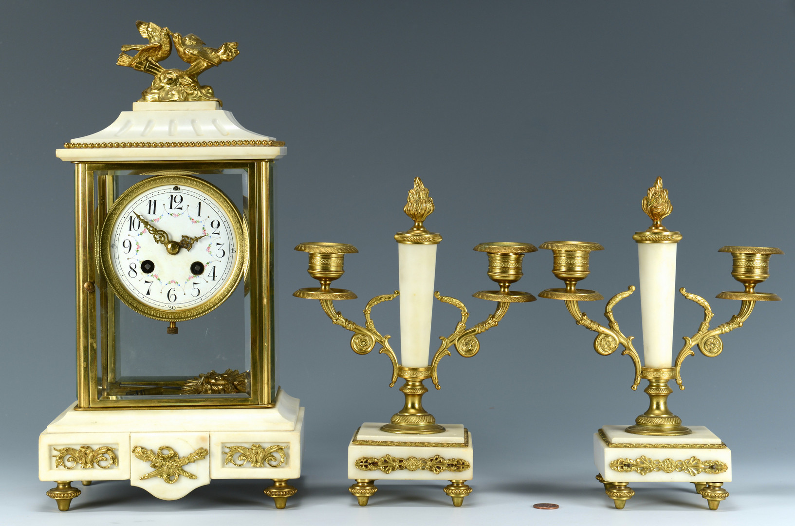 Lot 159: Gilt & Alabaster French Set