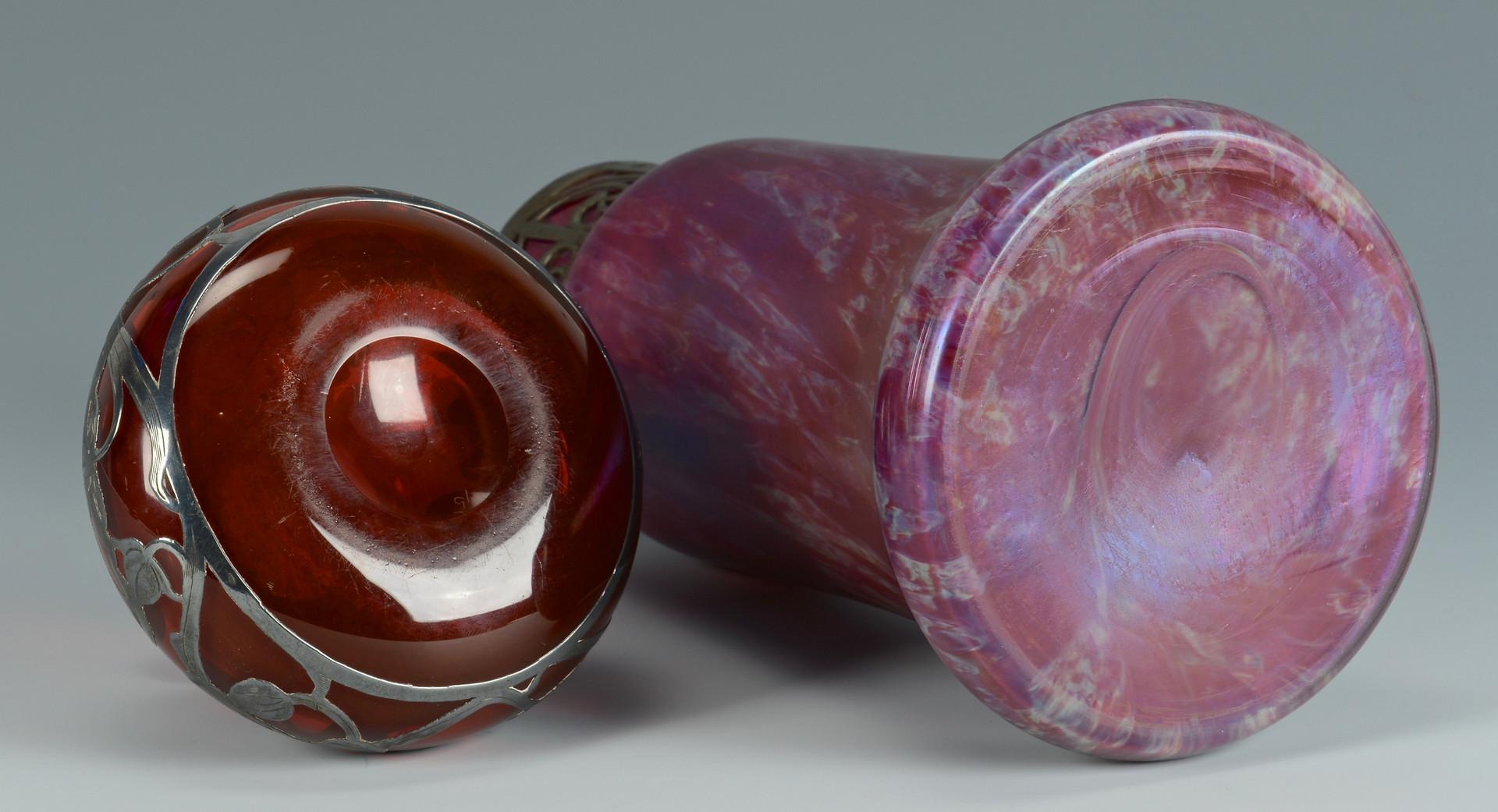 Lot 165: Silver Overlay Vase & Loetz Vase
