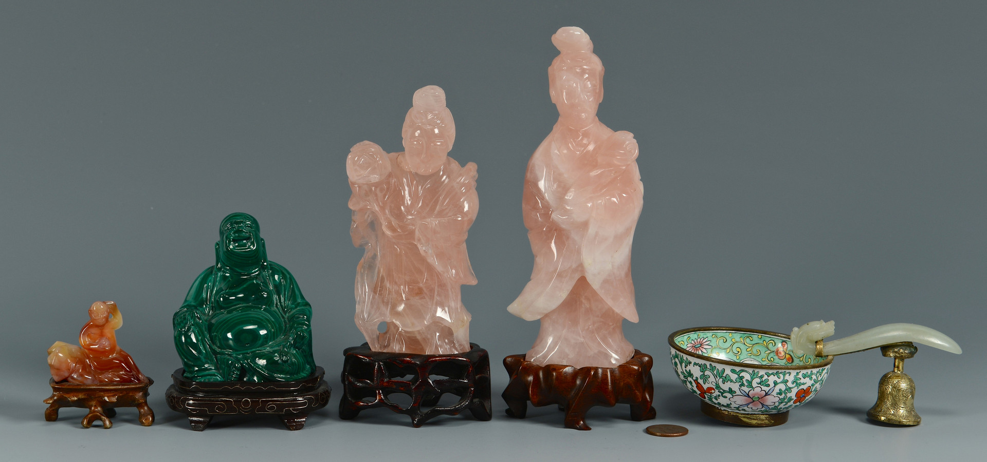 Lot 16: 5 Chinese Jade & Hardstone Items