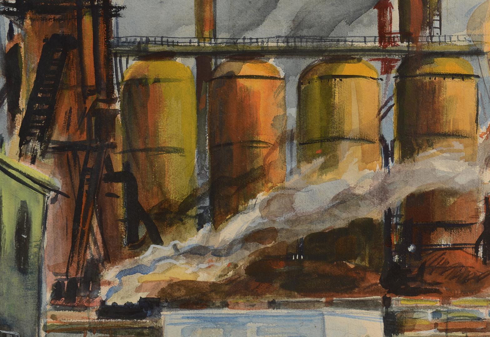 Lot 174: George P. Ennis Watercolor, Industrial Scene