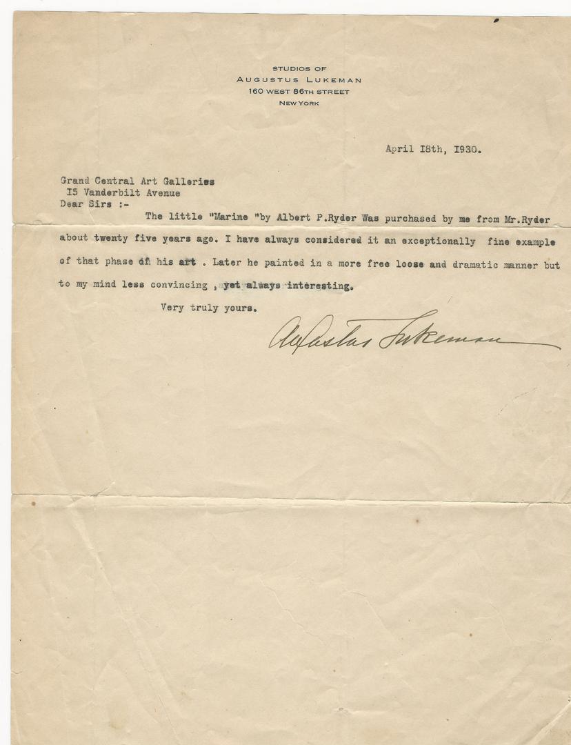 "Lot 179: Albert Pinkham Ryder, ""Boat at Sea"""