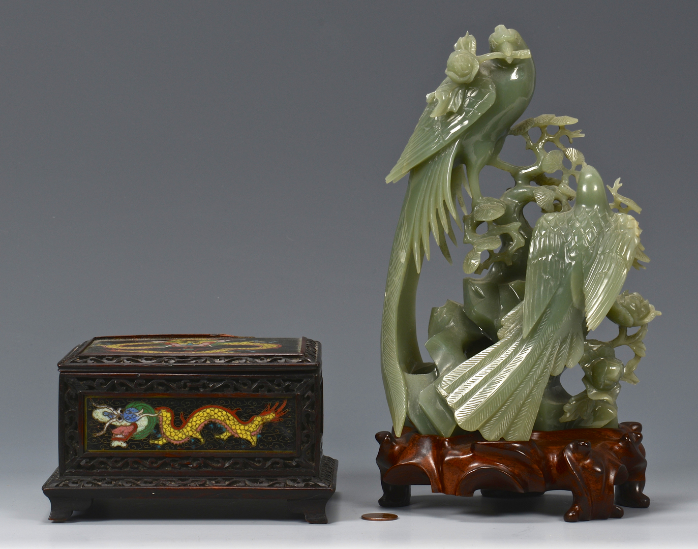 Lot 17: Jade Bird Group & Dragon Box