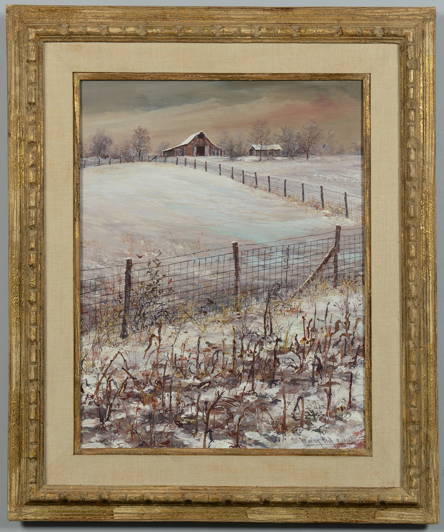Lot 187: Marion Cook painting, barn in winter