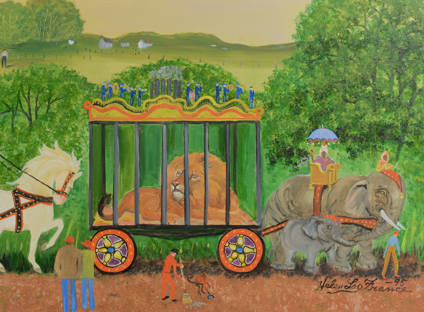 Lot 189: Helen LaFrance painting, Circus Parade