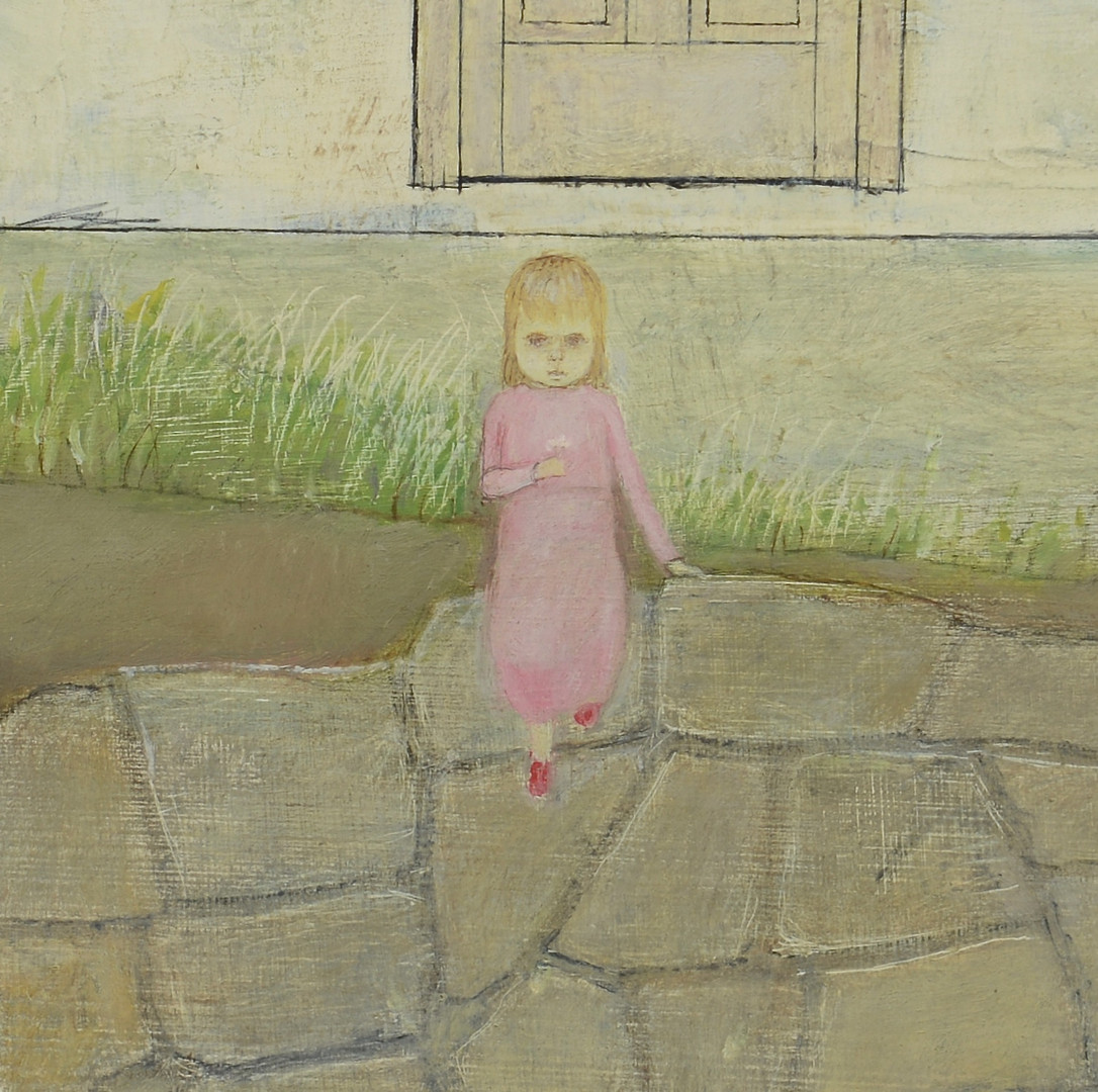 """Lot 191: Bill Sawyer oil, """"Little Girl with a Bouquet of Pi"""