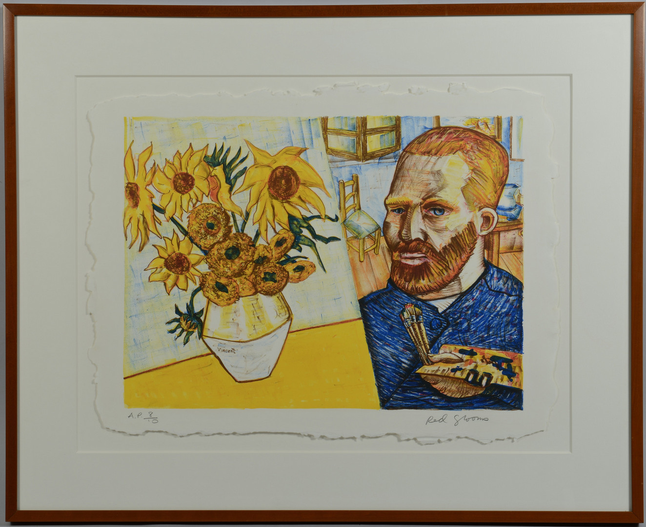 Lot 194: Red Grooms signed litho, Van Gogh