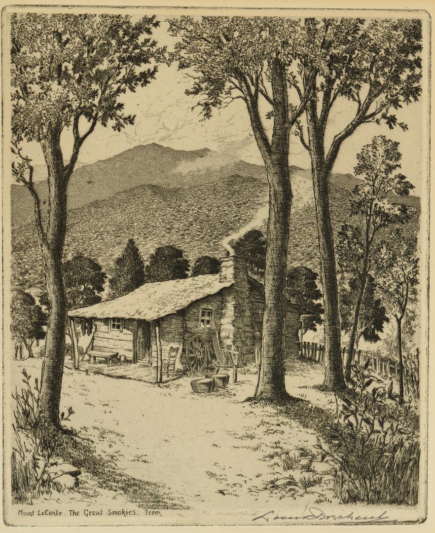Lot 200: Pr. Leon Pescheret Etchings, TN Mountain Scenes