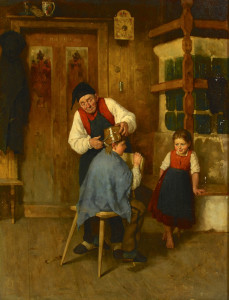 "Lot 204: R. Eisermann o/c, ""Village Barber"""