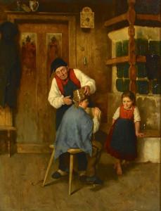 "Lot 204: R. Eisermann o/c, ""Village Barber"""