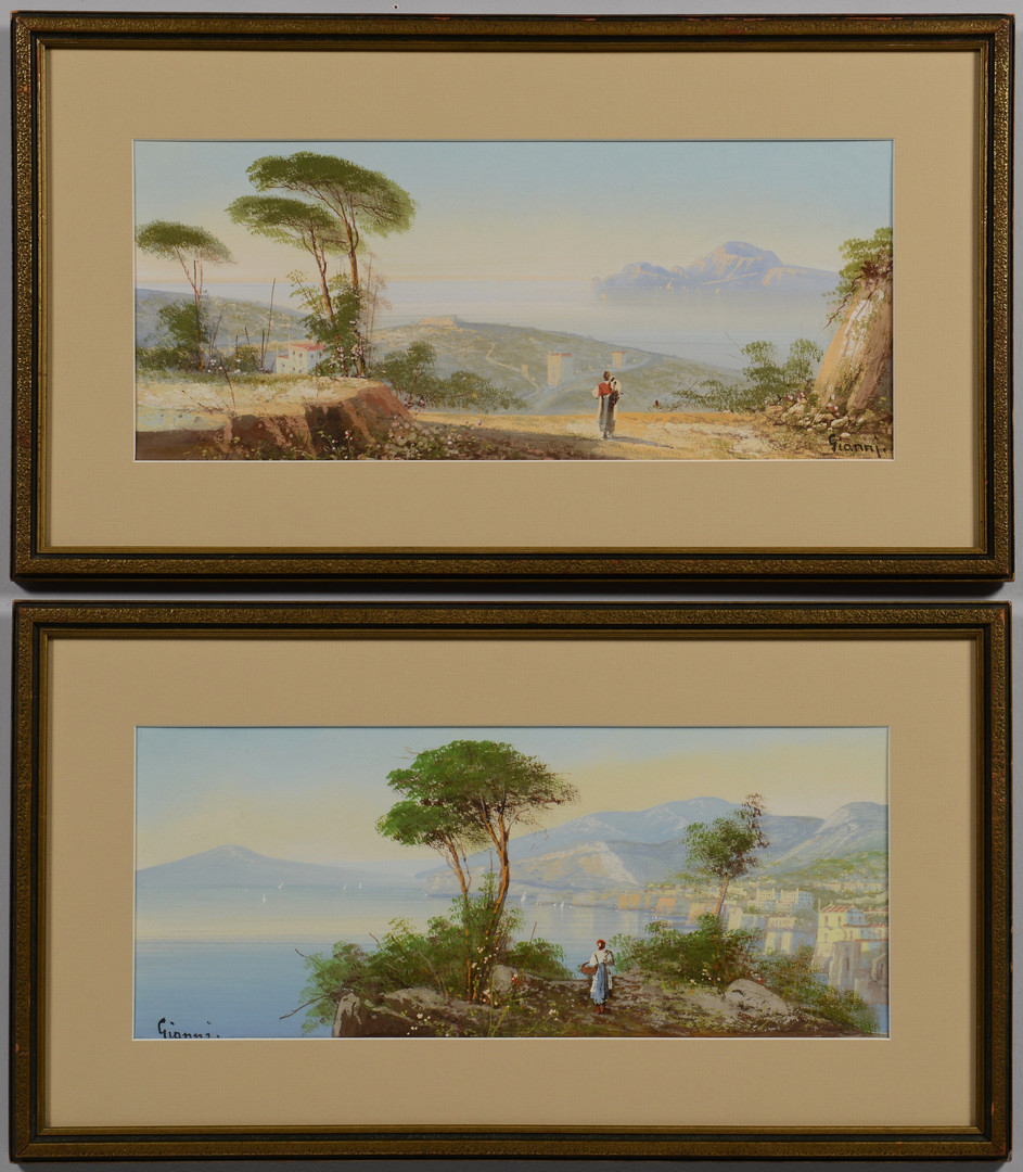 Lot 211: Pair Italian Landscapes, signed