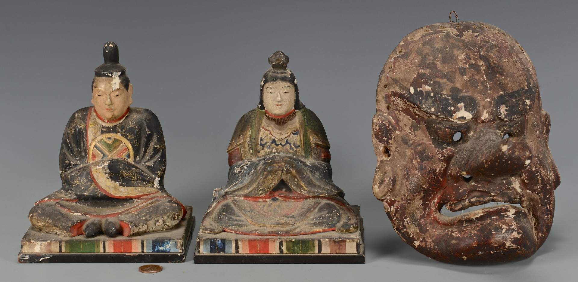 Lot 215: 3 Japanese Carved & Painted Items